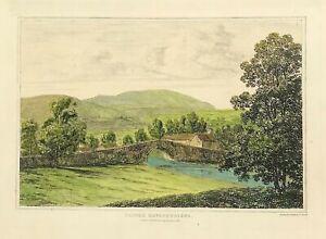 Pentre Rhydfendiged Tregaron West Wales c1813 Original etched print hand colour