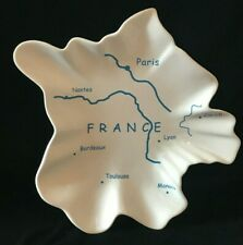 France Country-Shaped Serving Platter White Blue Francophile