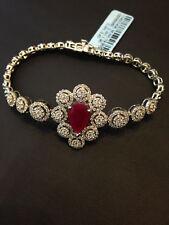 Pave 5.30 Carats Natural Diamonds Ruby Tennis Bracelet In Fine Hallmark 14K Gold