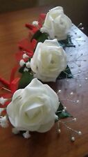 Wedding Flowers Ivory Rose Ladies Buttonholex6 With Diamante or Pearls Satin Bow