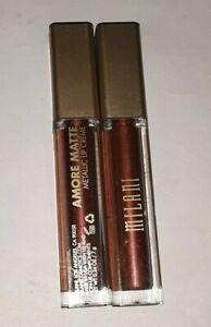 2 tube lot MILANI AMORE MATTALLICS LIP CREME GLOSS 02 MATTERIALISTIC unsealed