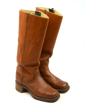 Vtg 70s Wrangler Cognac Brown Leather Western Campus Boots Womens 6 Square Toe