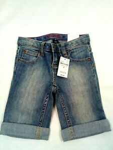 Lands'End Girls Stretch Jeans Shorts with Cuffed Legs and Adjustable Waistband