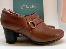 """NIB CLARKS  BROWN LEATHER ANKLE BOOTS """"CLARKS BENDABLES"""" ladies sz 9 Wide"""
