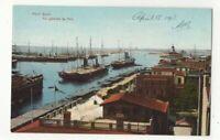 Port Said Vue General Du Port Egypt 1913 Postcard Ephtimios Freres 294c