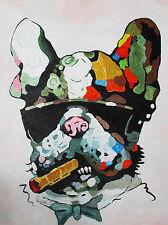 Framed Canvas Big Dog Mafia Cigar  Street Art banksy pop art painting style