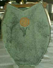 Mystery Studio Art Pottery Green Mottled Bamboo Raffia Handle Vase - Signed S