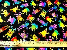 Quilt Craft Fabric Bright Colorful Rainbow FROGS on Black Robert Kaufman EK-1800