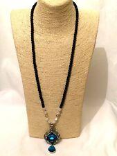 Declaración Largo Negro Con cuentas Collar Cadena de Perlas de Imitación Cristal Colgante Grande Grande