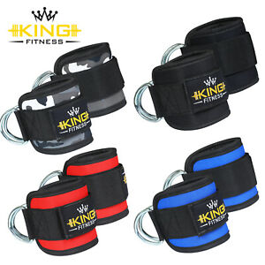 Pulley Cable Attachment Neoprene Ankle Cuff Gym Strap Weightlifting D Ring