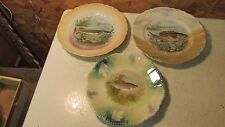 3 Antique China Game Plates- Fish