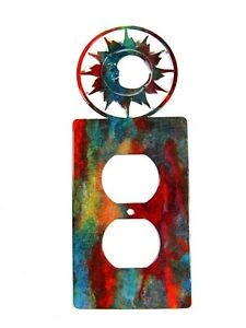 Small Shiny Sun Double Outlet Cover Plate by Steel Images USA 52815d