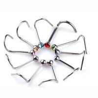 20X Lots Mix Steel Rhinestone Nose Studs Ring Bone Bar Pin Piercing Jewelry Gift