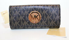 Michael Kors Fulton Flap Continental MK Signature PVC Wallet Black/DKBrown NWT
