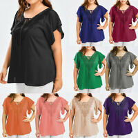 Women Casual Chiffon Top Lace Panelled Bell Sleeve Blouse Oversize Tee Plus Size