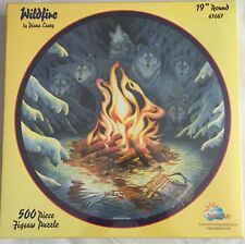 SunsOut Wildfire By Diana Casey 500 Piece Round Jigsaw Puzzle Wolves 43087 NEW