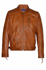 New Luxury Casual Men's Tan Deluxe Biker Style Real Soft Nappa Leather Jacket