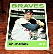 BRAVES $240 LOT: 1964 TOPPS ED MATHEWS, TOMMIE HANK  AARON, CARTY, BELL, TORRE+