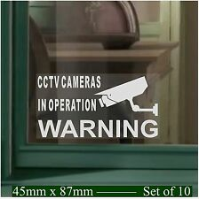 10 x SMALL CCTV Camera Security Window Stickers-Warning Signs-Image & Text