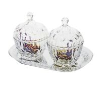 Glass Sweet Sugar Bowl Jar With Lid Set Of 2 Clear Glass Transparent Candy Sugar