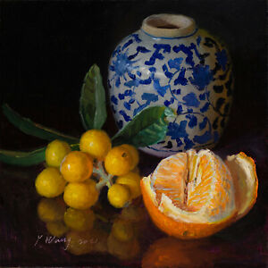 Original painting realism still life loquat oriental porcelain orange 10x10 Wang