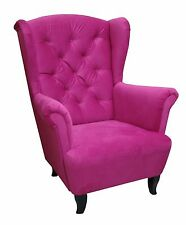 Ohrensessel Ohren Sessel LUDWIG pink Relaxsessel Chesterfield Designer Lounge