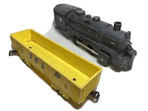 Vintage Marx Trains SCL Yellow Car, Black Plastic Locomotive 1970s O Gauge