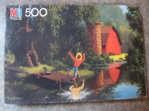 """Milton Bradley Puzzle 500 Pieces Good Old Days 4181-12 """"Watch Out"""" 1986"""