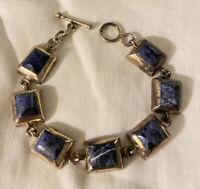 "Vintage Taxco Mexico 925 Sterling Silver Lapis Chunky Link Bracelet 8"""