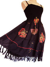 Strappy summer/ beach dress, elasticated UK size 10-16, black, handpainted new