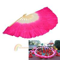 Flexible Chinese Folk Art Rose Silk Veil Bamboo Short Dancing Fan Belly Dance