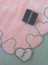New YSL Yves St Laurent Pink Heart Velour Face Towel Handkerchief Japan vintage