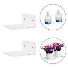 2x Kitchen Small Clear Acrylic Floating Wall Shelves Invisible Organizer