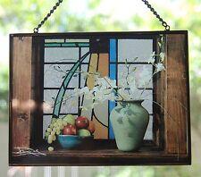 BRASS FRAMED GLASS SUNCATCHER  - EXCELLENT - still life