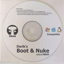 Boot and Nuke Hard Drive Eraser DBAN D BAN Windows XP 7 8 Vista  2000 Linux Mac