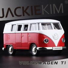 Red 1/43 Volkswagen VW 1962 T1 Transporter Van Samba Classic Bus Diecast Model