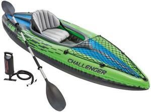 Intex K1 Challenger 1 Man Person Inflatable Kayak Canoe Oars & Pump Dinghy Boat