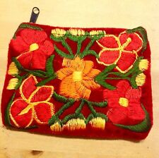 Coin Purse 1 Velvet Guatemalan Bag Red embroidery Floral Card Holder