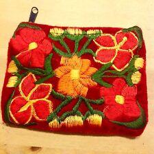 Portamonete 1 velluto guatemalteco Bag Red Ricamo Floreale titolare della carta