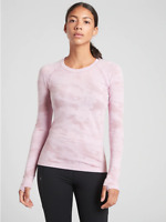 Athleta  Momentum Camo Long Sleeve Top, Delicate Pink SMALL S  NWOT, #556390