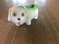 Vtg Small White & Green Puppy Ceramic Planter Japan 1950's