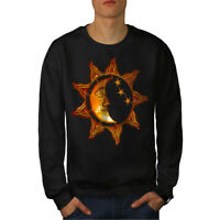 Wellcoda Sun Moon Day Night Space Mens Sweatshirt, Sky Casual Pullover Jumper