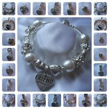 """LADIES WOMENS GIRLS 7.5"""" CHARM BRACELET PERSONALIZED PEARLS 5 COLOURS GIFT BAG"""