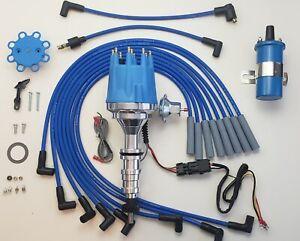 Small Cap FORD FE 390 427 428 BLUE HEI Distributor + 45k Coil + Spark Plug Wire