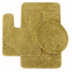 3 Pc Gold Bathroom Set Bath Mat Rug, Contour, And Toilet Lid Cover, With Rubber