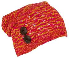 Women's Loose Knit Variegated Lightweight Skull Cap W/2 Buttons #695 Red/Yellow