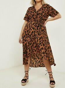 Quiz Curve Animal Print Wrap Midi Dress Brown Size 26 VR289 01