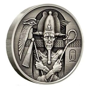 2 oz Antiqued Silver Egyptian Gods Osiris Round Ultra High Relief .999 Pure
