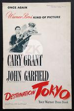 DESTINATION TOKYO War WWII Cary GRANT John GARFIELD US PRESS BOOK WB DP 1943