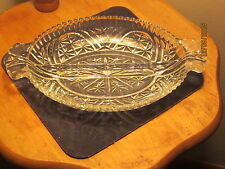 VINTAGE DIVIDED OVAL CUT GLASS RELISH TRAY OR CANDY DISH WITH HANDLES